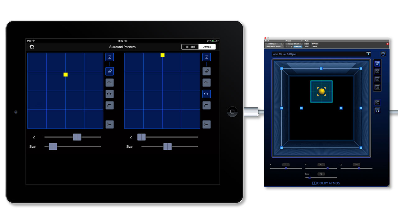 iPad V-Panner Dolby Atmos with plugin iPad wired